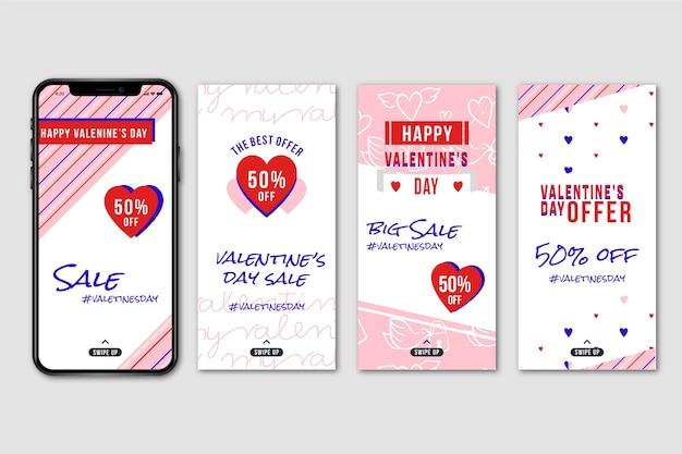 Coleção de história do instagram de venda de dia dos namorados