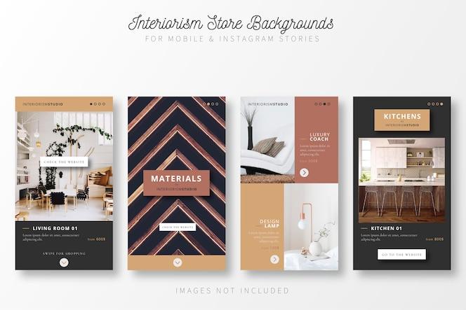 Coleção de história para loja de design de interiores