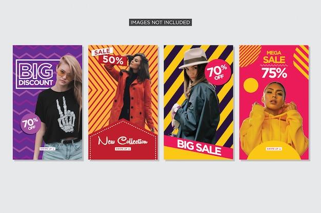 Coleção de histórias coloridas para vetor de prémio de venda de moda