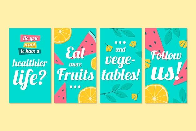 Coleção de histórias com frutas no instagram