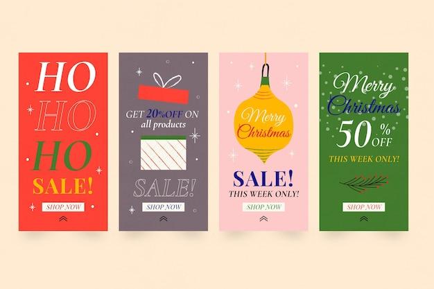 Coleção de histórias criativas de promoções de natal