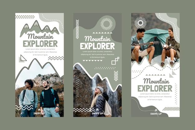Coleção de histórias de aventura desenhada à mão com foto