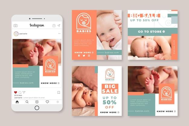 Coleção de histórias de bebê no instagram