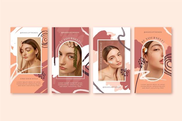 Coleção de histórias de beleza pintada à mão