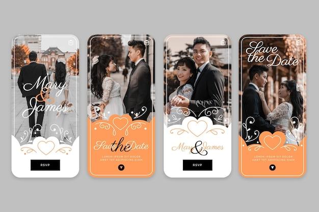 Coleção de histórias de casamento no instagram