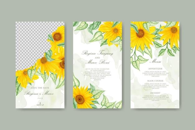 Coleção de histórias de girassol no instagram para modelo de convite de casamento