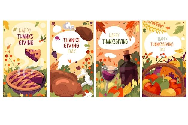 Coleção de histórias de instagram de ação de graças desenhada à mão