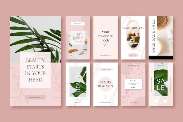 Coleção de histórias de instagram de beleza em design plano