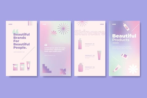 Coleção de histórias de instagram de beleza em gradiente