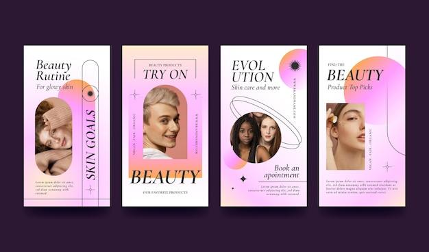 Coleção de histórias de instagram de beleza gradiente