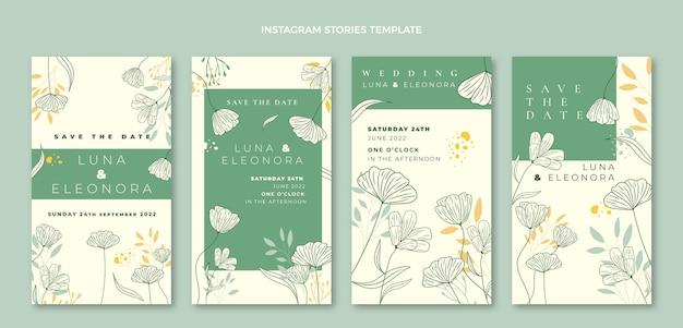 Coleção de histórias de instagram de casamento desenhada à mão