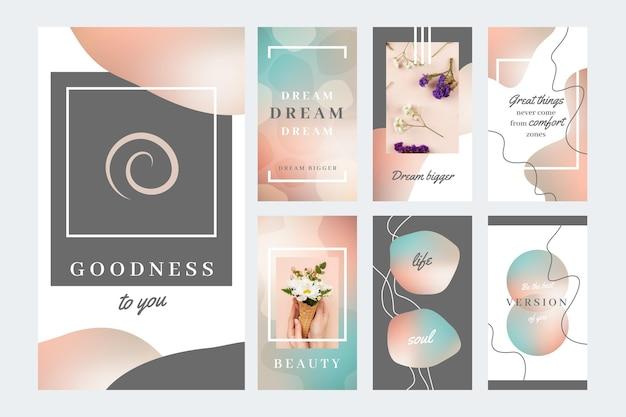 Coleção de histórias de instagram de citações inspiradoras de gradiente