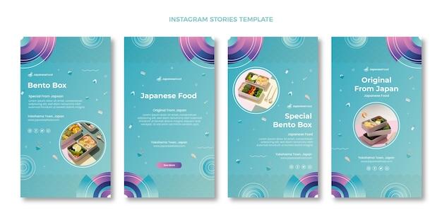 Coleção de histórias de instagram de comida japonesa desenhada à mão