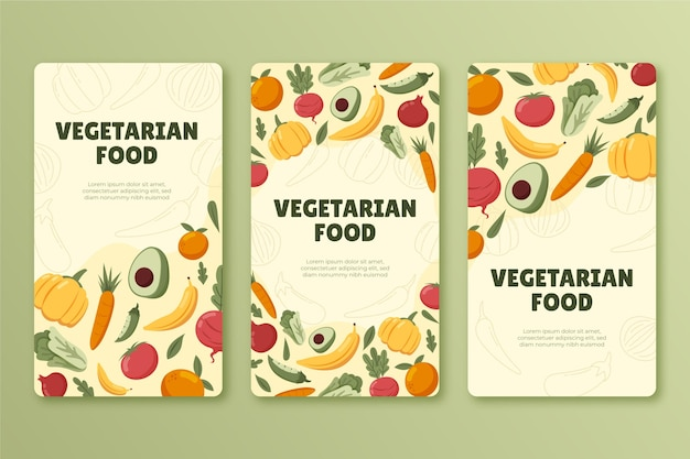 Coleção de histórias de instagram de comida vegetariana desenhada à mão