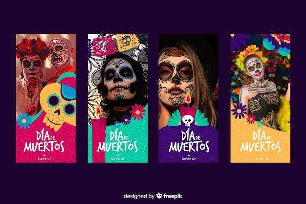 Coleção de histórias de instagram de dia de muertos
