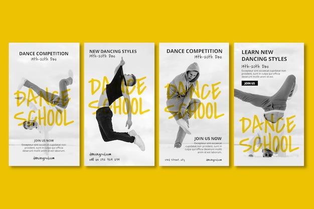 Coleção de histórias de instagram de escola de dança com dançarino
