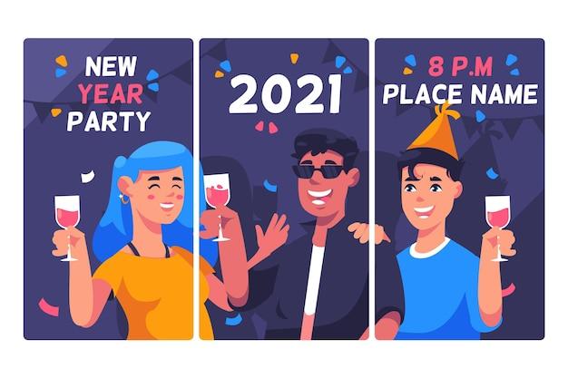 Coleção de histórias de instagram de festa de ano novo de 2021