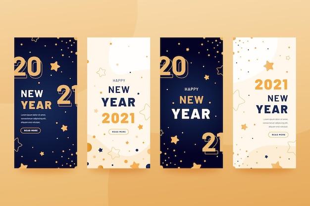 Coleção de histórias de instagram de festa de ano novo