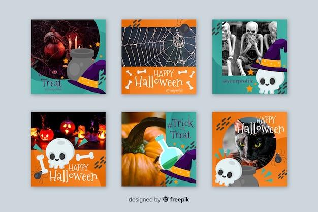 Coleção de histórias de instagram de halloween de caveiras de bruxa