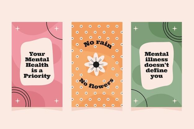 Coleção de histórias de instagram de saúde mental