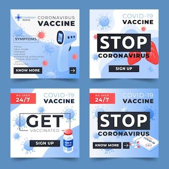 Coleção de histórias de instagram de vacinação de gradiente