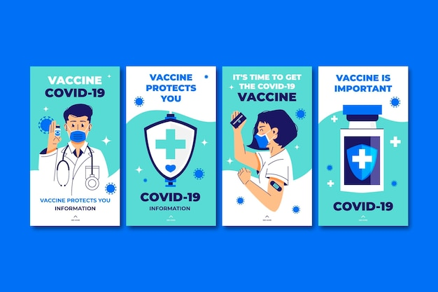 Coleção de histórias de instagram de vacinas planas