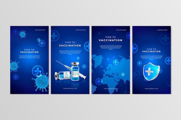 Coleção de histórias de instagram de vacinas realistas