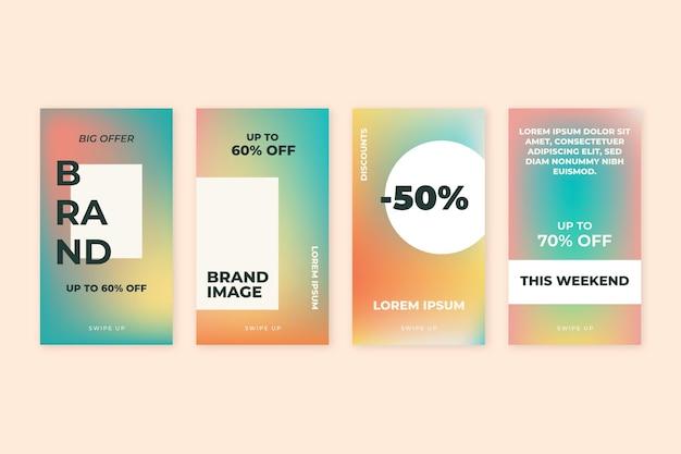 Coleção de histórias de instagram de venda gradiente