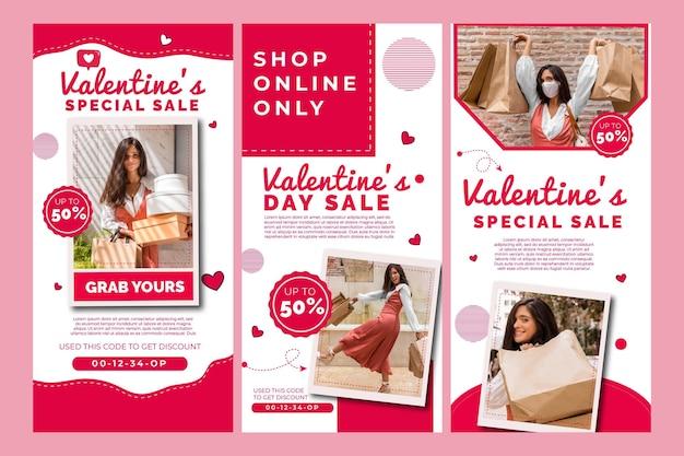 Coleção de histórias de instagram de vendas do dia dos namorados