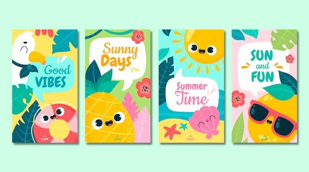Coleção de histórias de instagram de verão em desenho animado