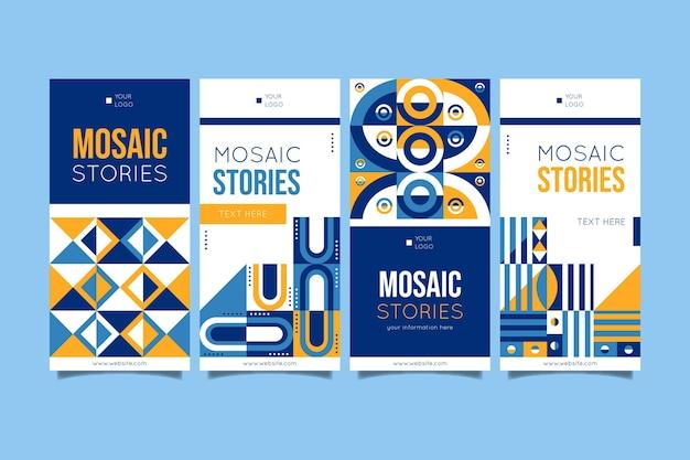 Coleção de histórias de instagram em mosaico plano