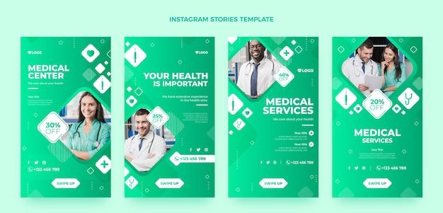 Coleção de histórias de instagram médicas de gradiente