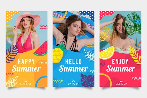 Coleção de histórias de instagram plana de verão com foto
