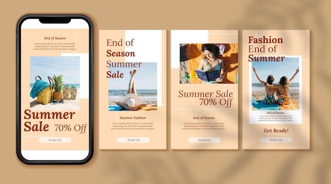 Coleção de histórias de intagram em liquidação de verão no final da temporada