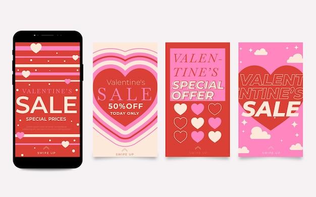 Coleção de histórias de liquidação do dia dos namorados com oferta