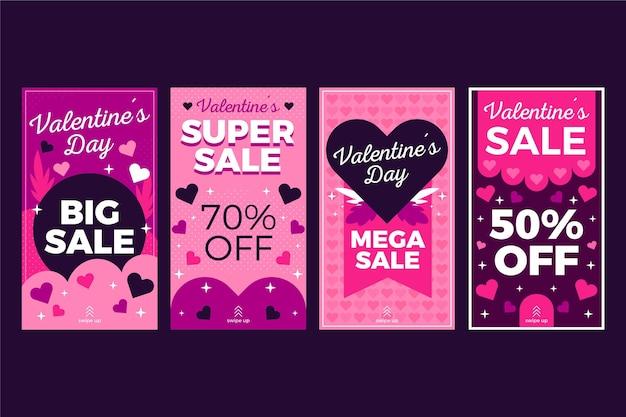 Coleção de histórias de liquidação do dia dos namorados