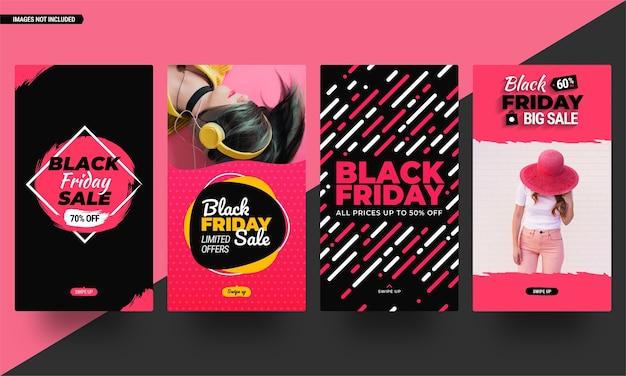 Coleção de histórias de mídia social da black friday. modelos editáveis em design plano pronto para usar