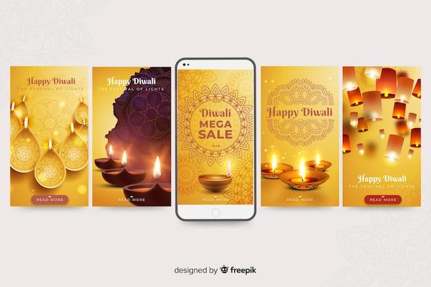 Coleção de histórias de mídia social de diwali