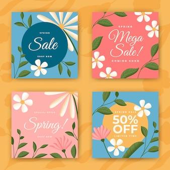Coleção de histórias de mídia social de venda de primavera