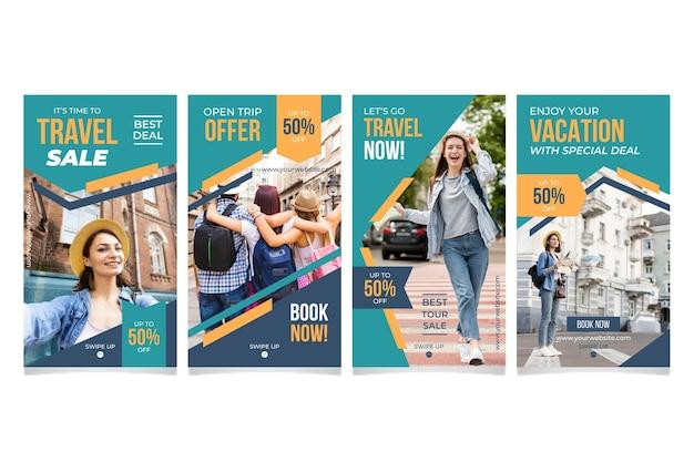 Coleção de histórias de mídia social de vendas de viagens