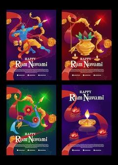 Coleção de histórias de navami de ram plana