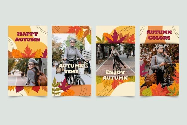 Coleção de histórias de outono desenhada à mão com foto