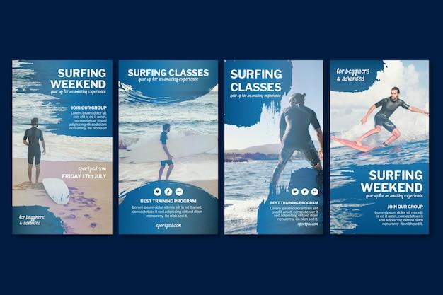 Coleção de histórias de surf no instagram