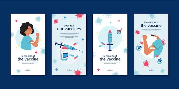 Coleção de histórias de vacinas no instagram