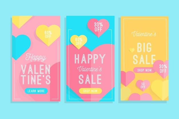 Coleção de histórias de venda de dia dos namorados