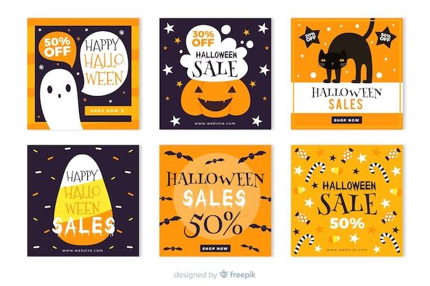 Coleção de histórias de venda de instagram de halloween