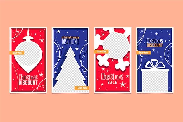 Coleção de histórias de venda de natal do instagram