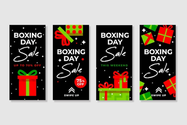 Coleção de histórias de venda do dia de boxe do instagram