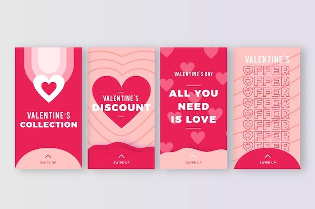 Coleção de histórias de venda do dia dos namorados
