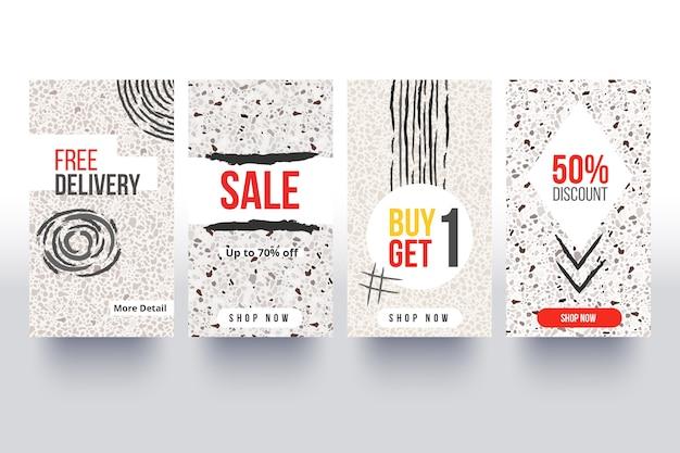 Coleção de histórias de venda do instagram na mão desenhada estilo